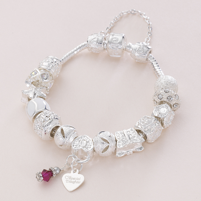 birthstone bracelet with message charm charming engraving