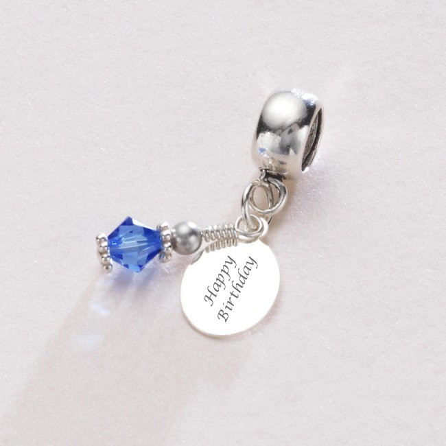 birthstone charm sterling silver fits pandora any