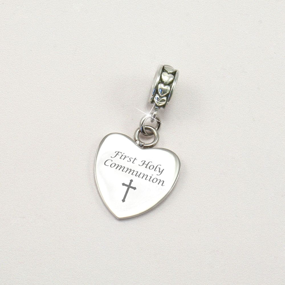 Engraved Holy Communion Charm Heart On Bail Charming