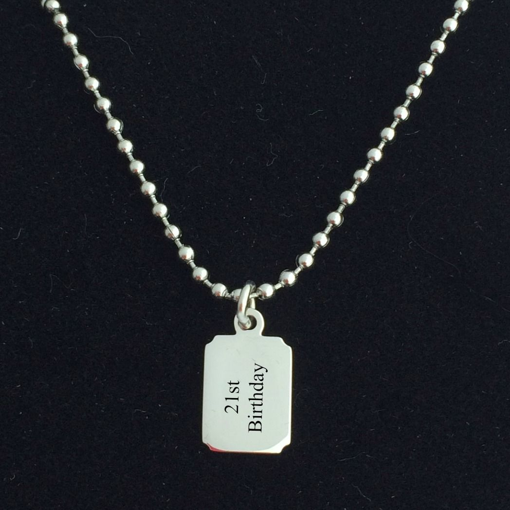 engraved necklace for boys steel chain charming