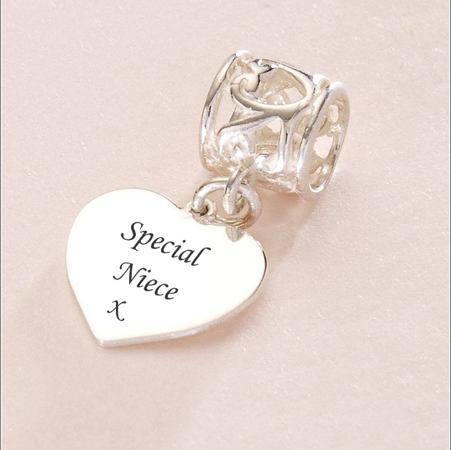 Engraved Special Niece Silver Heart Charm Fits Pandora