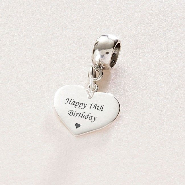 Happy 18th Birthday Sterling Silver Heart Charm Fits