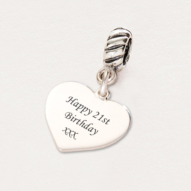 happy 21st birthday charm sterling silver fits pandora