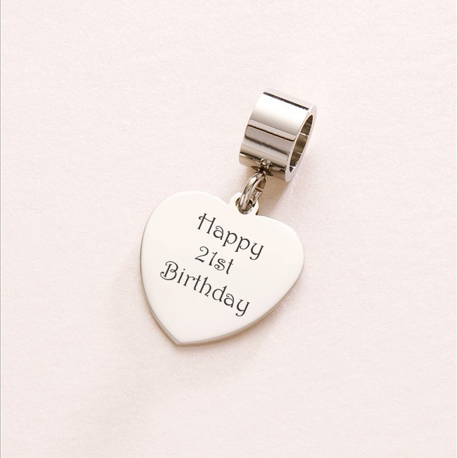 happy 21st birthday heart charm sterling silver fits