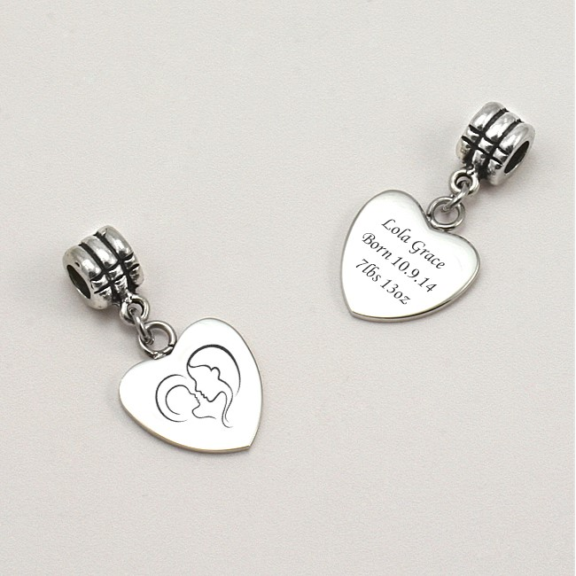 and child charm with engraving fits pandora