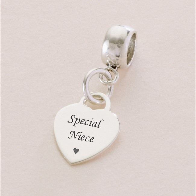 Special Niece sterling silver heart charm- fits Pandora ...