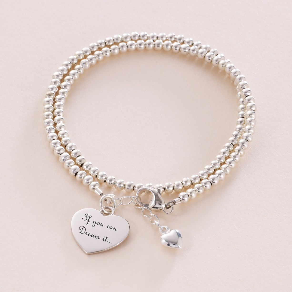 Sterling Silver Beaded Wrap Bracelet with Engraving ...