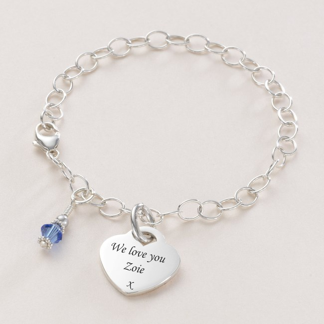 sterling silver charm bracelet with birthstone charming