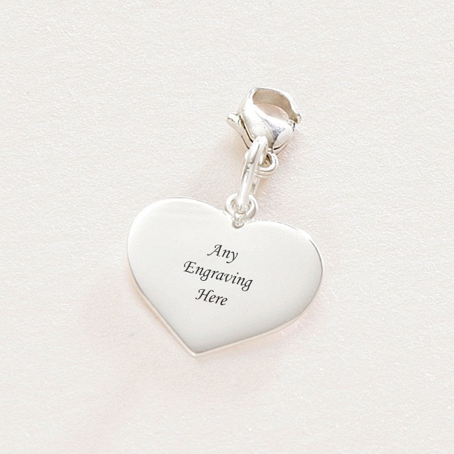 Silver Heart Charm with Engraving