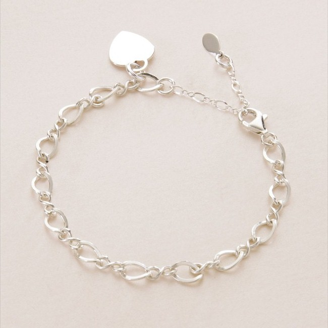 adjustable sterling silver charm bracelet with engraved