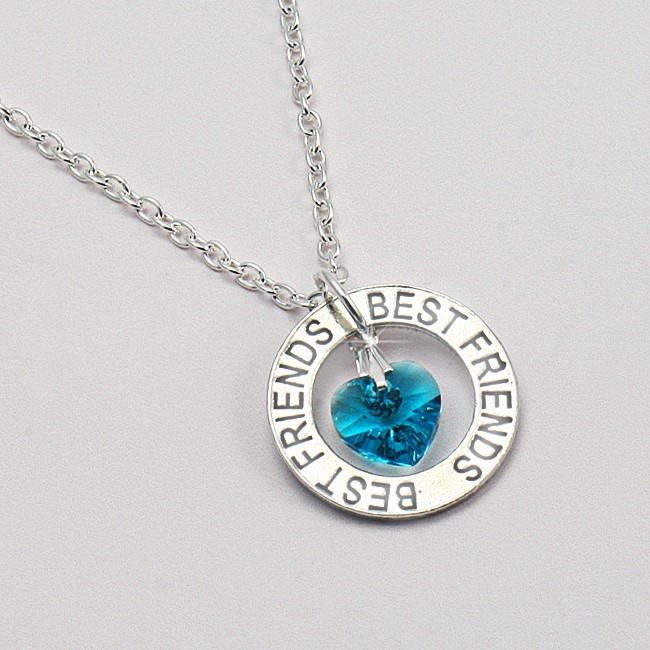 Best Friends Necklace With Birthstone Heart Charming