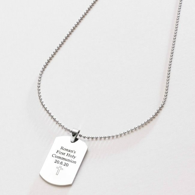 Boy's First Holy Communion Gift - Engraved Dog Tag | Charming Engraving