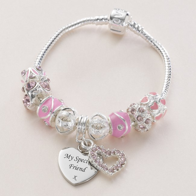 Charm Bead Bracelet With Engraved Charm In Pink Charming