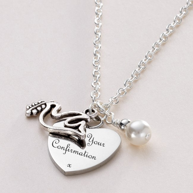 Confirmation Day Necklace with Dove & Engraving | Charming Engraving