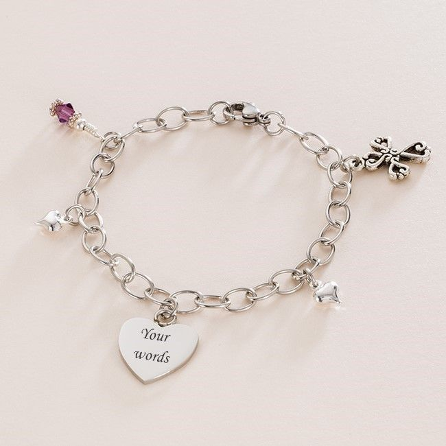 Cross of Hearts, Birthstone and Engraved Heart Steel Bracelet | Charming Engraving