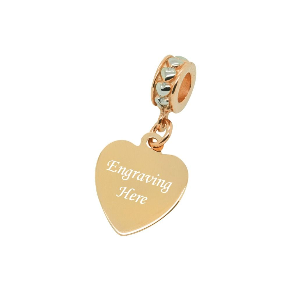 Engraved Heart Charm Rose Gold Amp Silver Charming Engraving
