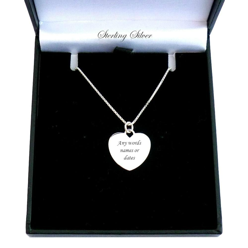 Engraved Heart Necklace Sterling Silver Charming Engraving