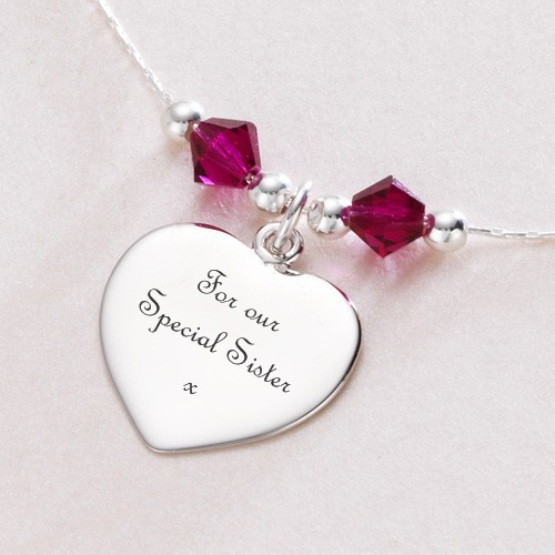 Engraved Heart Necklace with Birthstones | Charming Engraving