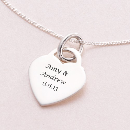 Engraved heart pendant necklace sterling silver charming engraving mozeypictures Gallery