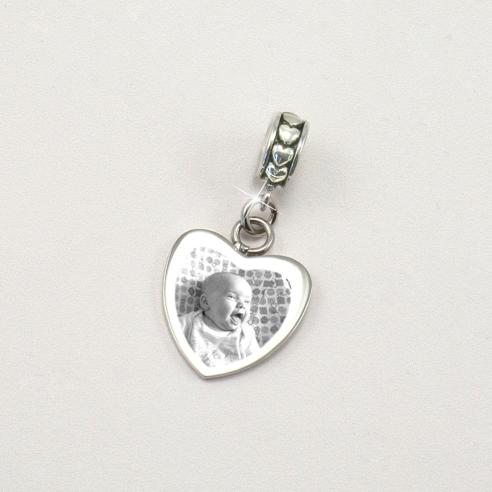 Engraved Photo Charm Heart On Heart Bail Charming Engraving