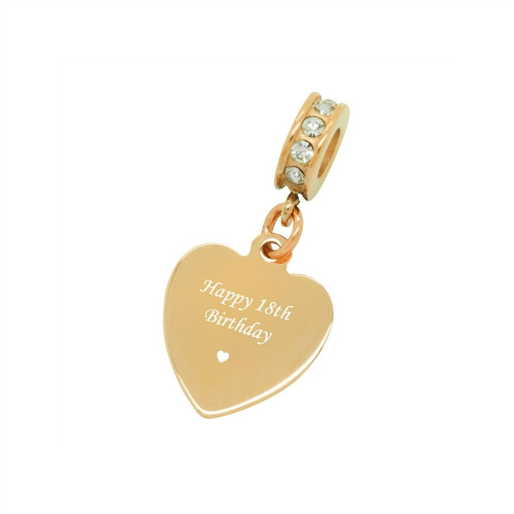 Engraved Rose Gold Heart Charm For 18th Birthday Pandora Style Charming Engraving