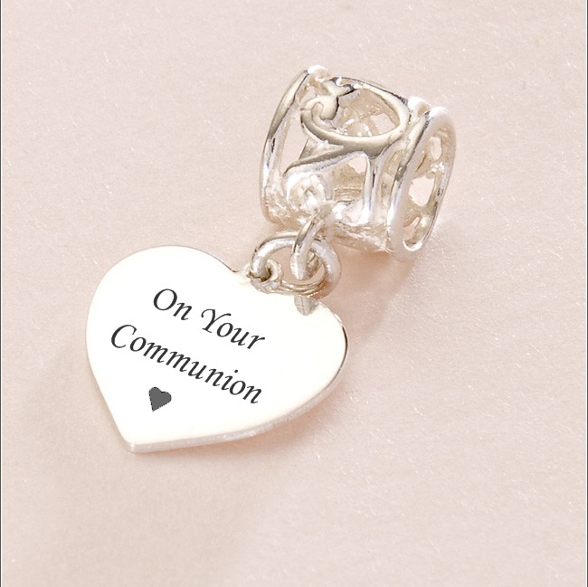 Engraved Silver Communion Charm For Pandora
