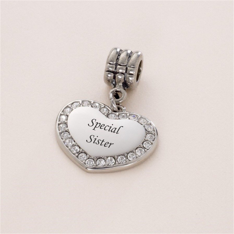 Special Sister Bracelet Charm Charming Engraving