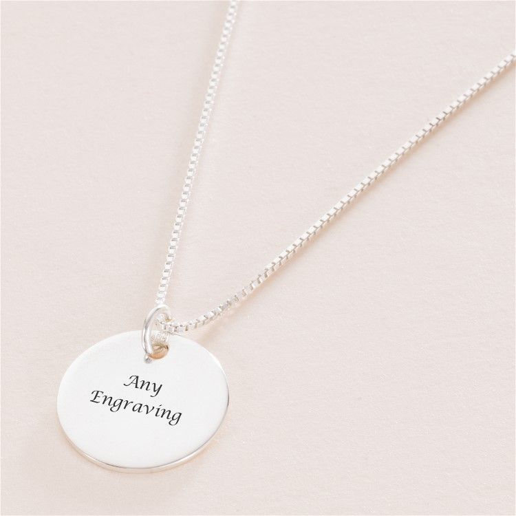 0266ff07cae Engraved Sterling Silver Round Pendant Necklace | Charming Engraving