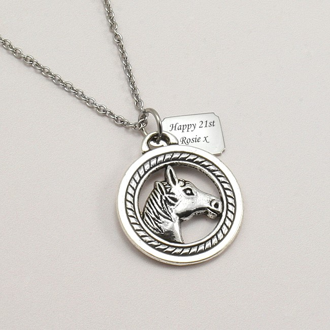 Engraved horse pendant necklace charming engraving mozeypictures Gallery