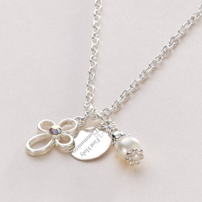 gold baptism necklaces pearl christening white includes vm girls religious and necklace occasions pendants first heart cross communion free