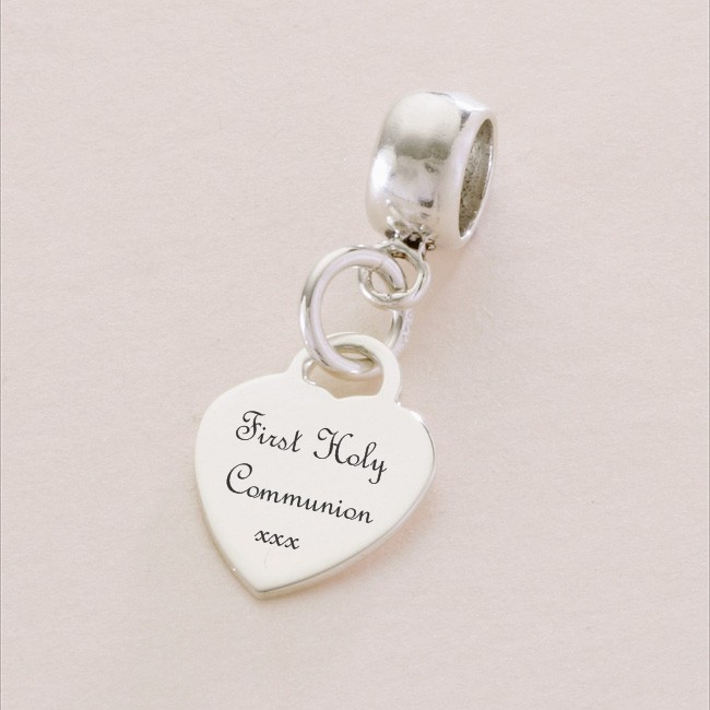 First Holy Communion Sterling Silver Heart Charm Fits