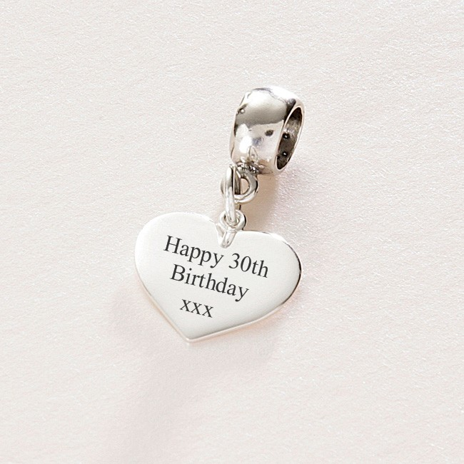 Engraved Charm, Happy 30th Birthday, Silver heart ...