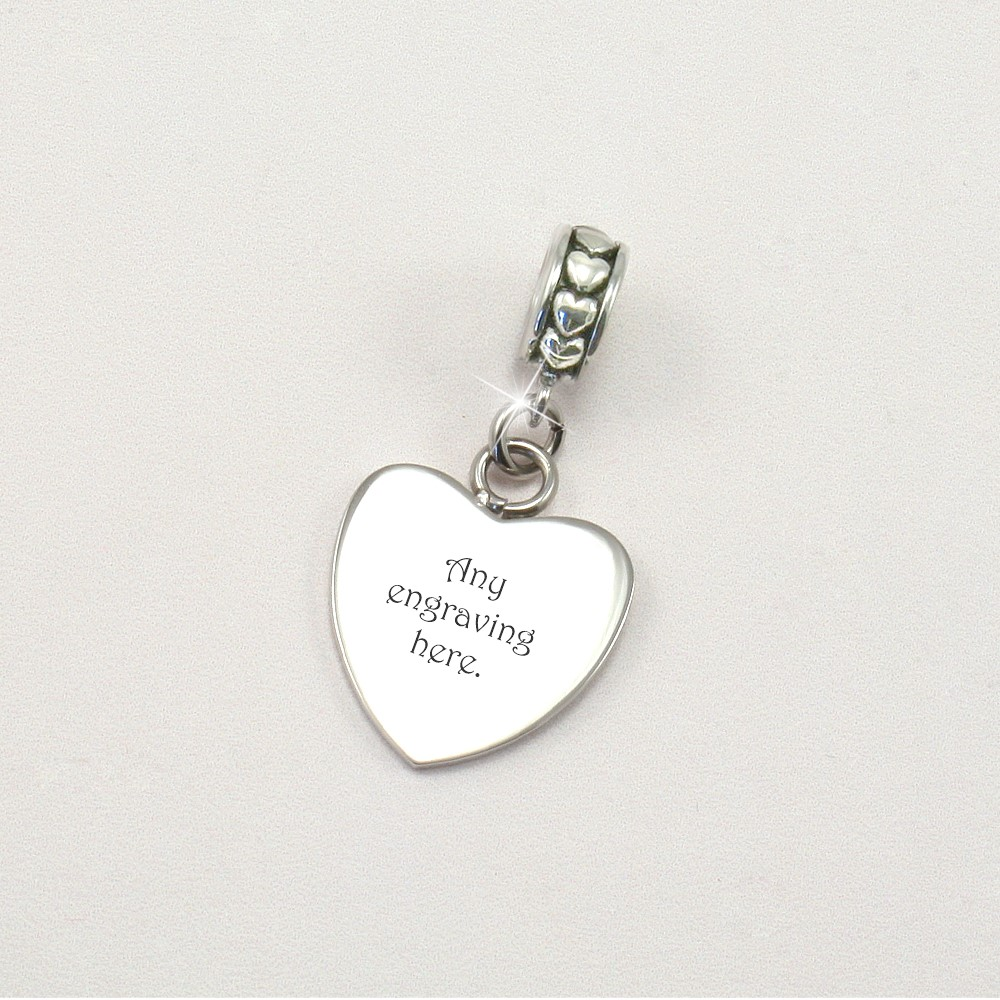 Heart Bail Amp Charm Fits Pandora Any Engraving Charming