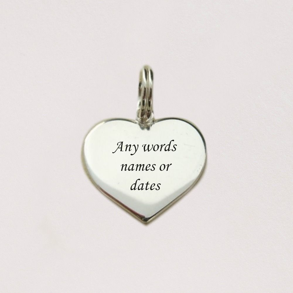 Sterling Silver Engraved Heart Charm with Personalised Engraving.