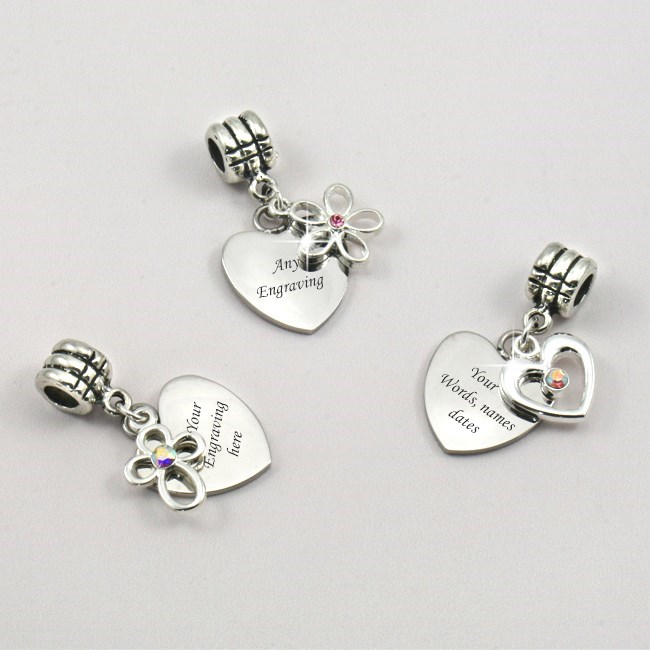 Heart charm with Flower, Cross or Heart, Any Engraving | Charming Engraving