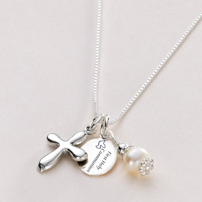 Holy Communion Necklace with Engraved Tag for Girls | Charming Engraving
