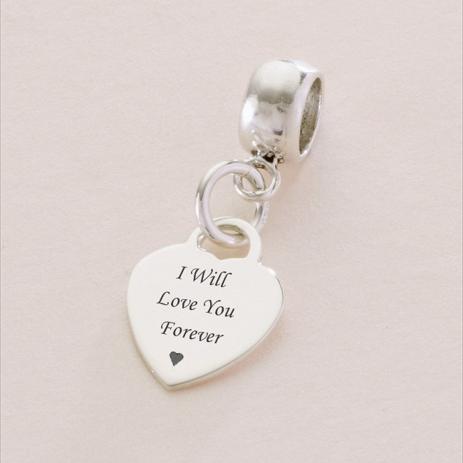 I Will Love You sterling silver heart charm fits Pandora ...