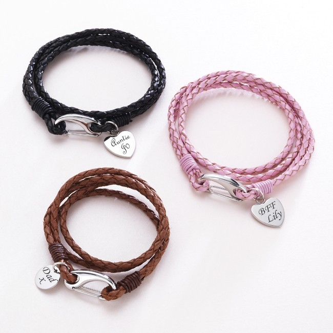 Leather Wrap Charm Bracelet: Leather Wrap Bracelet, Engravable Charm, Various Colours