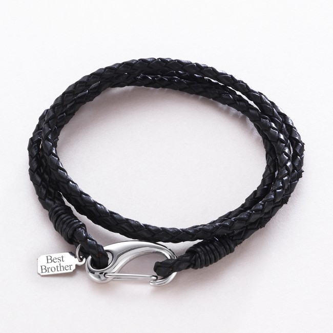 Men's Leather Wrap Bracelet with Engraved Charm