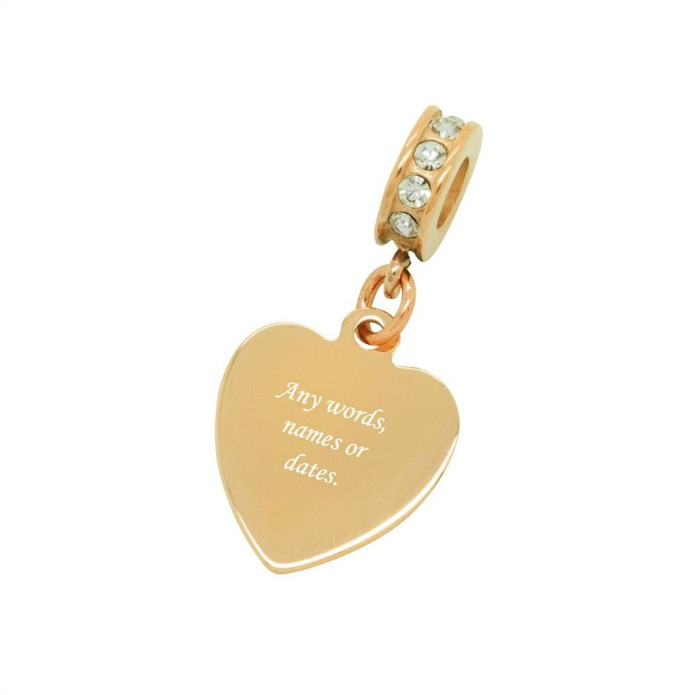 Rose Gold Heart Charm Fits Pandora Any Engraving