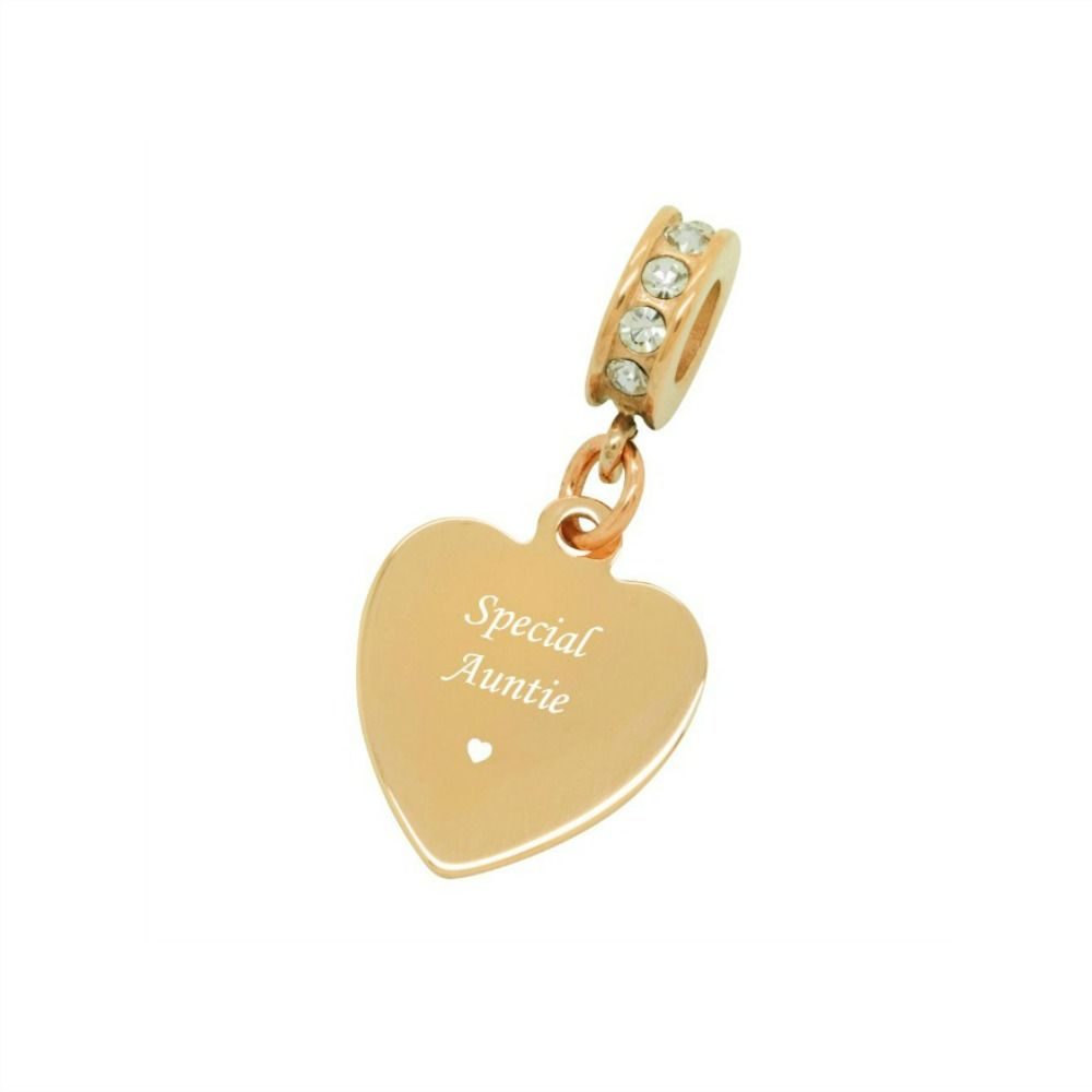 0e5eb59db ... sale rose gold heart charm for auntie pandora style charming engraving  8f656 52ca0