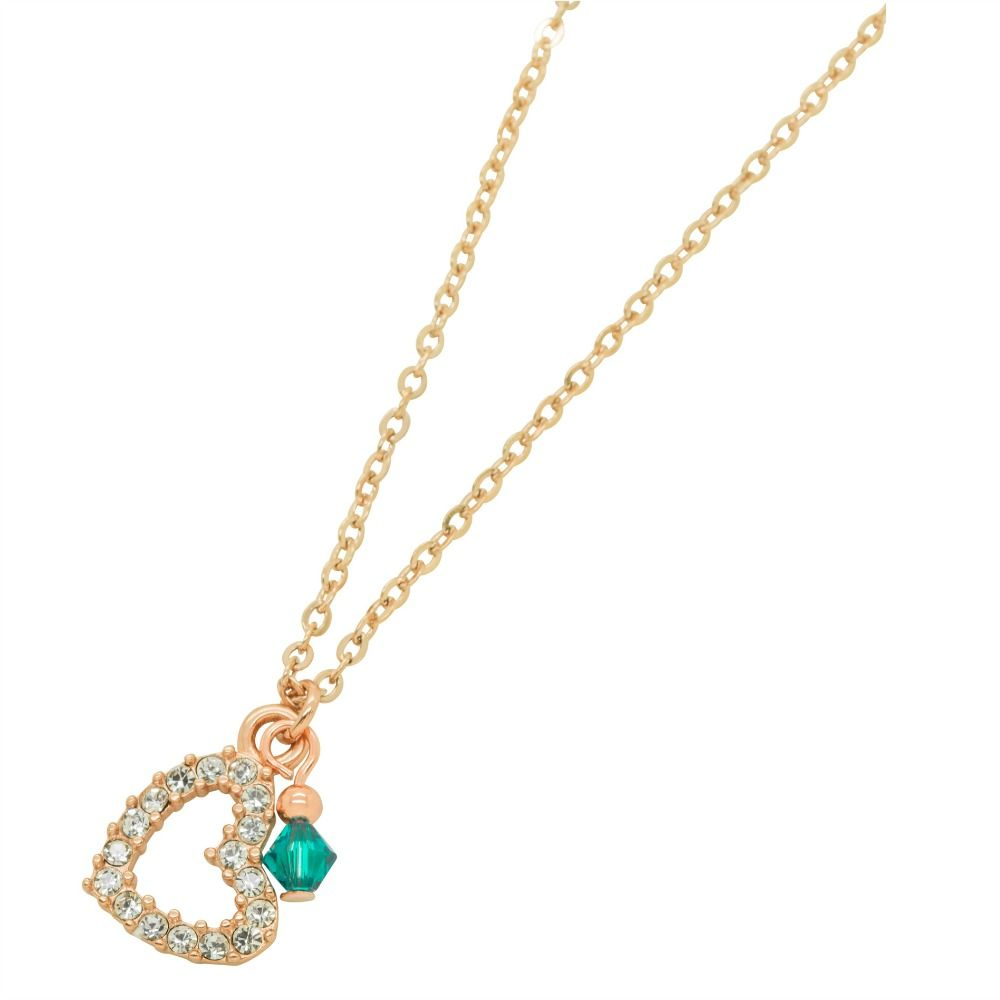 Rose Gold Heart Necklace With Birthstone Charm Charming