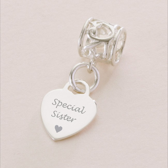 Silver Heart Charm For Sister Fits Pandora