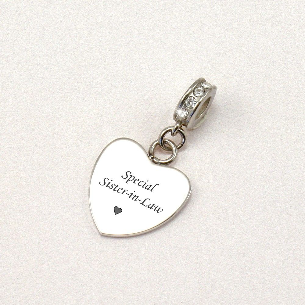 Engraved Special Sister In Law Bracelet Charm Charming