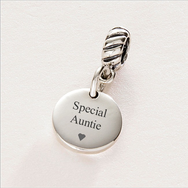 Special Auntie Charm Sterling Silver Fits Pandora