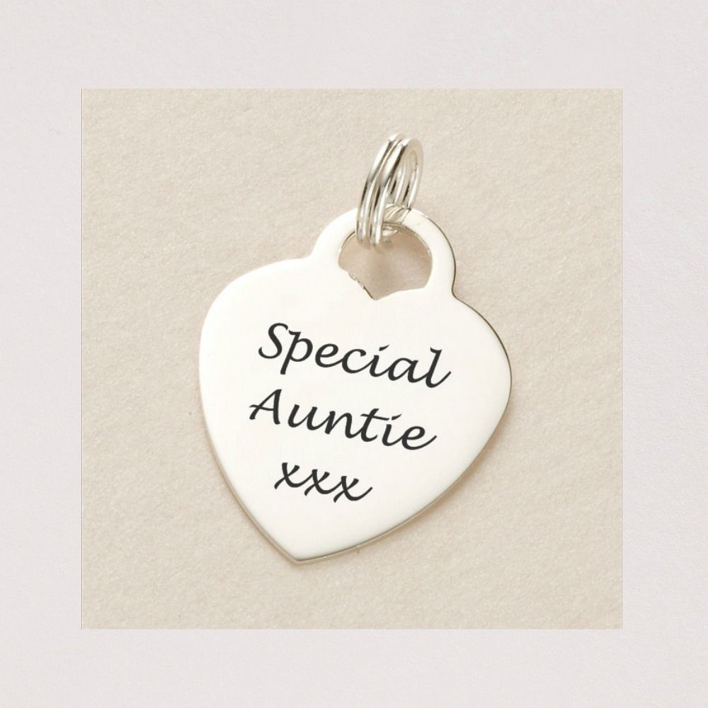 Special Auntie Heart Charm Sterling Silver Charming