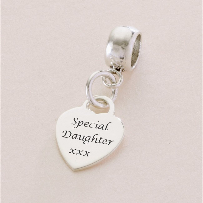Special Daughter sterling silver heart charm fits Pandora | Charming Engraving