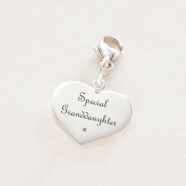 e44a40afc Special Granddaughter silver heart charm with lobster clasp | Charming  Engraving
