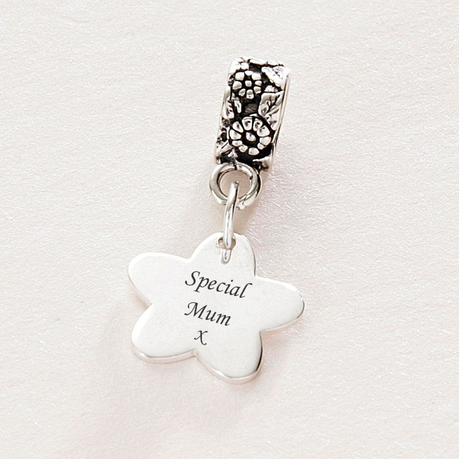 Engraved Special Mum Flower Charm Sterling Silver For