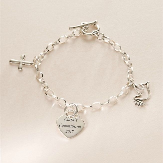 Cross Charm Bracelet: Sterling Silver Charm Bracelet With Dove And Cross Charms